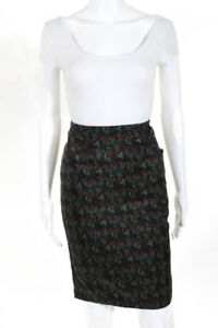 Roseanna Black Red Nylon Marquise Technique Pencil Skirt Size Small New $325