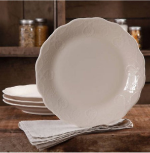 The Pioneer Woman Cowgirl Lace Transparent Glaze 4-Pack Dinner Plates Linen