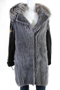 Versace Womens Coat Size IT 46 Gray Black Mink Fur Studded Leather New $29525