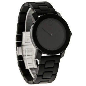 Movado Bold Mens Black Finish Link Bracelet Dress Watch 3600047