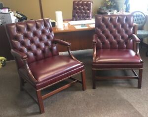 Kittinger Furniture WF1411 open arm chair. GENUINE LEATHER NEWLY UPHOLSTERED!