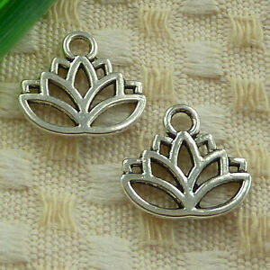 free ship 1600pcs tibetan silver lotus flower charms 17x15mm #4040
