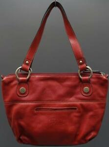 Fossil Medium Soft Red Leather Shoulder Satchel Handbag Purse