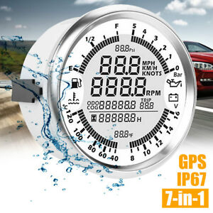 85mm GPS Digital Speedometer Odometer Gauge For Auto Car Truck Marine Tachometer