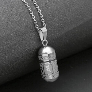 Stainless Buddha Words Bullet Pendant Necklace Cremation Memorial Urn Ash Sliver