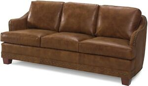 NEW LEATHER SOFA  ANTIQUE STYLE  BROWN TOP GRAIN LEATHER UPHOLSTERY  STUDS