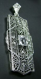 1ct Natural White Topaz Art Deco 1930s Sterling Silver Filigree Necklace Pendant