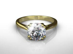 CLASSIC DESIGN F VS1 3.00 CARAT ROUND SHAPE DIAMOND 14 KARAT YELLOW GOLD RING