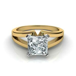 DESIGN 2.50 CT D VS1 PRINCESS CUT DIAMOND SOLITAIRE RING 14 K YELLOW GOLD