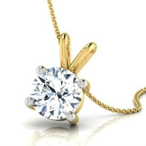 CLASSIC NECKLACE 2.5 CT D SI2 ROUND DIAMOND 4 PRONG PENDANT 18 K YELLOW GOLD