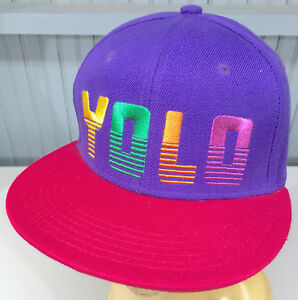 YOLO You Only Live Once Rainbow Letter Snapback Baseball Cap Hat