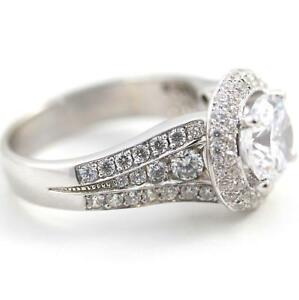AWESOME PIECE 4 CT D VS1 ROUND CUT ACCENTED DIAMOND RING 18 K WHITE GOLD WOMAN