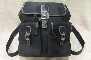 Coach Black Nylon Backpack Purse w Leather Accent Straps -Brown Lining -NWOT