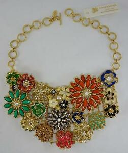 AMRITA SINGH crystal designer statement bib necklace multicolor BANGLE