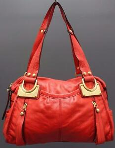 B.Makowsky Large Soft Red Leather Duffel Shoulder Satchel Handbag Purse