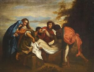 Large 17th Century Italian Old Master The Deposition Christ Antique TITIAN