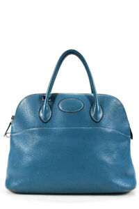 Hermes Womens Clemence Bolide 35 Tote Handbag Blue Silver Tone