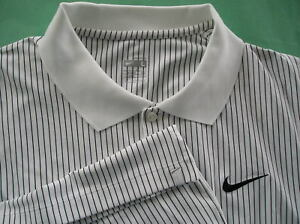 RARE~Nike Dri FIT PIN-STRIPE Tennis Polo Top Shirt golf~Mens sz Med