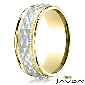 Cross Hatch Rope Polish Edge 8mm Comfort Fit Unisex 14K 2 Tone Gold Wedding Band