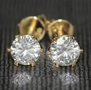 4Ct Round Cut VVS1D Diamond Solitaire Stud Earring Solid 14K Yellow Gold Finish