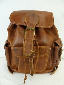 Unbranded Brown Real Leather Sting Draw 3 Outer Pocketed Traveler Back Pack