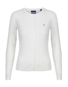 Gant Stretch Cotton Cable Crew Womens Jumper Cardigan - Eggshell All Sizes