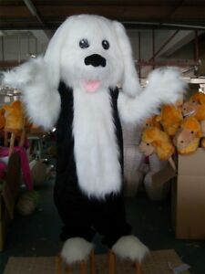 Cute High Quality Plush White And Black Dog Mascot Costume Costume Cosplay