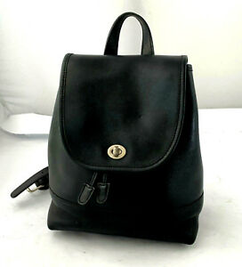 Authentic Vintage COACH Black Leather Backpack Shoulder Bag Purse Handbag - Med