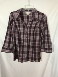 Christopher & Banks Medium 34 Sleeve Blouse Roll-Up Sleeve Tabs Purple Plaid