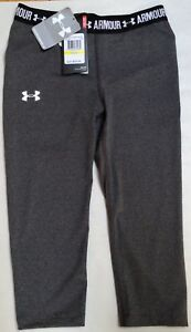 NWT UNDER ARMOUR GIRLS GRAY FITTED CAPRI PANTS SIZE 1271021 MEDIUM $29.99
