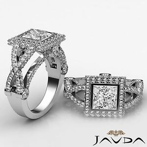 Princess Diamond Engagement GIA G Color SI1 14k White Gold Designer Ring 2.4 ct