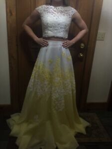 CHEAP Prom Dress 2 Pieces White And Yellow Flowers Original $700