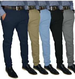 Mens Slim FIT Stretch Chino Trousers Casual Flat Front Flex Full Pants $21.69