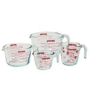 Pyrex Prepware 4-Piece Glass Measuring Cup Set - 1, 2, 4 And 8 Cup Capacity