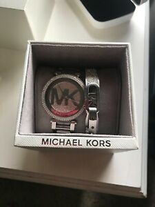 Michael Kors silver watch and bracelet set