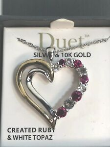 Duet Created Ruby with White Topaz Sterling Silver and 10kt Yellow Gold Open...