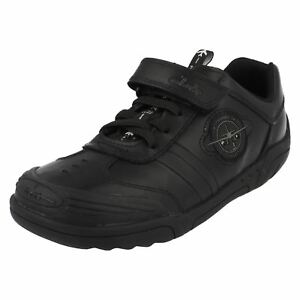Boys Black Leather Clarks Wing Lite Laces Riptape Great Price $42.60
