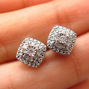 925 Sterling Silver Real Diamond 110 CTTW Cushion Stud Earrings
