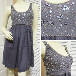 REBECCA TAYLOR Womens Sleeveless Fit And Flare Glitter Sequin Dress 6 Silk Gray