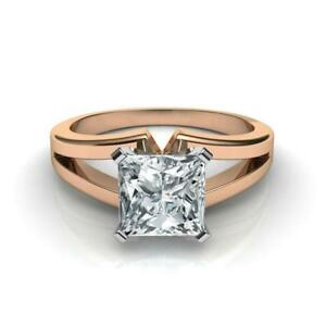 CHRISTMAS 3.50 CT F VS1 PRINCESS CUT DIAMOND SOLITAIRE RING 14 K RED ROSE GOLD