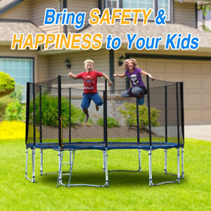 Large 12 FT Round Trampoline Combo Jump Safety Enclosure Net Spring Pad Ladder