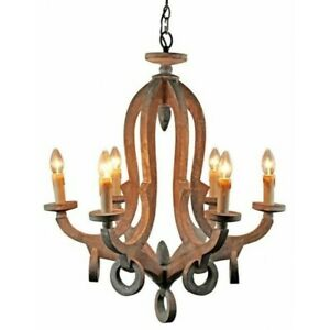 Distressed Wooden Chandelier 6 Lights Antique Pendant Rustic Ceiling Lighting