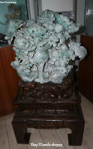 126CM Natural Emerald Jadeite Carving Peony Peonies Flower Wint Tea Cup Statue
