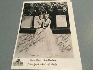 40'S Photo MGM TWO GIRLS AND A SAILOR SIGNED BY GLORIA DE HAVEN JUNE ALLYSON