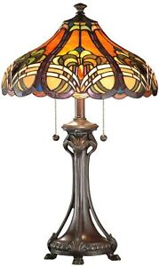 TABLE LAMP DALE TIFFANY BELLAS 2-LIGHT WEATHER FORD RESIN NEW HAND-ROLLED