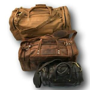 Leather Duffle Bag - Zipper Travel Tote - Weekend Bag for Men & Women - Large -