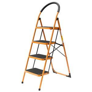 4 Step Ladder Folding Steel Step Stool Anti-slip 330Lbs Capacity Black