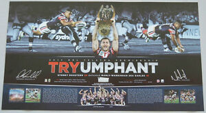 SYDNEY ROOSTERS 2013 NRL PREMIERS DUAL SIGNED TRYUMPHANT LITHOGRAPH JENNINGS