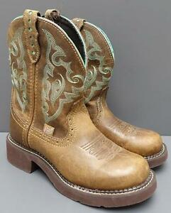 Women Justin Gypsy L9606 Brown Leather Turquoise Cowgirl Western Boot 6.5B NEW
