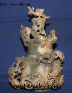 Old Natural Hetian Jade Dragon Phoenix Unicorn Pixiu Incense Burner Censer Pot